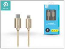 USB Type-C - Lightning adat- és töltőkábel 1 m-es vezetékkel - Devia Gracious USB Type-C to Lightning Cable - champagne gold