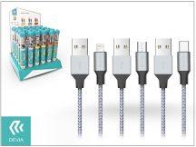 Devia Tube 3 USB adat- és töltőkábel szett 1 m-es vezetékkel - Devia Tube for Android/Lightning/Type-C USB 2.4A - 30 db/csomag