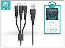 Devia USB töltő- és adatkábel 1,2 m-es vezetékkel - Devia Fish1 Flexible 3in1 for Lightning/Android/Type-C USB 2.4 - black