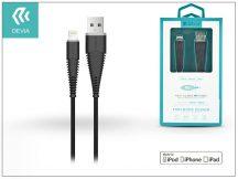 Apple iPhone 5/5S/5C/SE/iPad 4/iPad Mini USB töltő- és adatkábel 1,5 m-es vezetékkel (MFI engedélyes) - Devia Fish1 Flexible Lightning USB 2.4 - black