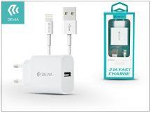 Apple iPhone 5/5S/5C/SE/6S/6S Plus USB hálózati töltő adapter + lightning adatkábel 1,2 m-es vezetékkel - 5V/2,1A - Devia Smart Fast Charger Suit - white