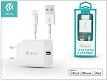 Apple iPhone 5/5S/5C/SE/iPad 4/iPad Mini USB hálózati töltő adapter + lightning adatkábel (MFI engedélyes) - 5V/2,1A - Devia Smart Fast Charger Suit - white