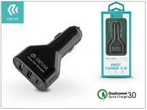 Devia szivargyújtós töltő adapter 2xUSB+Type-C bemenettel - 5V/3A/2,4 - Devia Swift Drive 3 Port USB Quick Charge - Qualcomm Quick Charge 3.0 - black