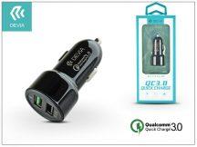 Devia Dual USB szivargyújtós töltő adapter - 5V/3A/2,4A - Devia Smart Dual USB Quick Charge - Qualcomm Quick Charge 3.0 - black
