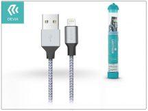 Apple iPhone Lightning USB töltő- és adatkábel - 1 m-es vezetékkel - Devia Tube Lightning USB 2.4A - silver/blue