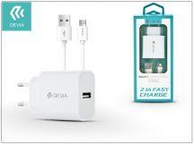 Devia Smart USB hálózati töltő adapter + micro USB kábel 1 m-es vezetékkel - Devia Smart USB Fast Charge for Android - 5V/2,1A - white