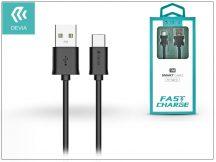USB - USB Type-C adat- és töltőkábel 1 m-es vezetékkel - Devia Smart Cable for Type-C 2.1 - black