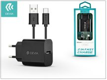 Devia Smart USB hálózati töltő adapter + USB Type-C kábel 1 m-es vezetékkel - Devia Smart USB Fast Charge for Type-C 2.0 - 5V/2,1A - black