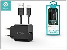 Devia Smart USB hálózati töltő adapter + USB Type-C kábel 1 m-es vezetékkel - Devia Smart USB Fast Charge for Type-C 2.0 - 5V/2,1A - black