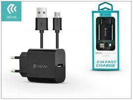 Devia Smart USB hálózati töltő adapter + micro USB kábel 1 m-es vezetékkel - Devia Smart USB Fast Charge for Android - 5V/2,1A - black