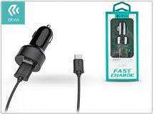 Devia Dual szivargyújtós töltő adapter + USB Type-C kábel 1 m-es vezetékkel - Devia Smart Dual USB Fast Charge for Type-C - 5V/2,4A - black
