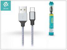 Devia USB töltő- és adatkábel 1 m-es vezetékkel - Devia Tube for Type-C USB 2.4A - silver/blue
