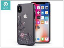 Apple iPhone X hátlap Swarovski kristály díszitéssel - Devia Crystal Petunia - gun black/transparent