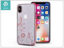 Apple iPhone X hátlap Swarovski kristály díszitéssel - Devia Crystal Petunia - rose gold/transparent