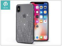 Apple iPhone X hátlap Swarovski kristály díszitéssel - Devia Crystal Meteor - gun black/transparent
