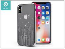 Apple iPhone X hátlap Swarovski kristály díszitéssel - Devia Crystal Meteor - silver/transparent