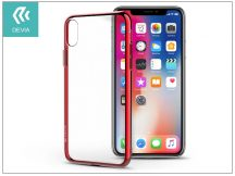 Apple iPhone X szilikon hátlap - Devia Glitter Soft - red/transparent