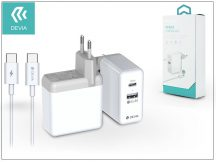 Devia USB hálózati gyorstöltő adapter + USB Type-C kábel - Devia Apple PD 3.0 Quick Charge Pack QC 3.0 - white - 36W