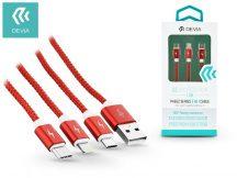 Devia USB töltő- és adatkábel 1 m-es vezetékkel - Devia Pheez Flexible 3in1 for Lightning/Android/Type-C USB 2.1A - red
