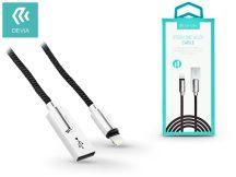 Apple iPhone 5/5S/5C/SE/iPad 4/iPad Mini USB töltő- és adatkábel - 1 m-es vezetékkel - Devia Storm Zinc Alloy Lightning USB 2.1A - black