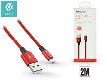 USB - micro USB adat- és töltőkábel 2 m-es vezetékkel - Devia Pheez USB 2.0 - red