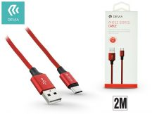 USB - USB Type-C adat- és töltőkábel 2 m-es vezetékkel - Devia Pheez USB Type-C 2.0 Cable - red