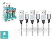 Devia Tube 3 USB adat- és töltőkábel szett 1 m-es vezetékkel - Devia Tube for Android/Lightning/Type-C USB 2.4A - 30 db/csomag - silver/black