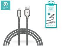 Apple iPhone 5/5S/5C/SE/iPad 4/iPad Mini USB töltő- és adatkábel 1 m-es vezetékkel - Devia Storm Series Zinc Alloy Braid Cable Lightning USB 2.1 - silver