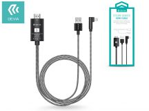Apple iPhone Lightning + USB + HDMI kábel 2 m-es vezetékkel - Devia Storm Series HDMI Cable - black