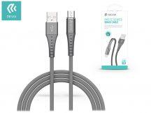 USB - micro USB adat- és töltőkábel 1 m-es vezetékkel - Devia Pheez Series Braid Cable - 5V/2.1A - silver
