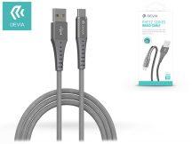 Devia USB töltő- és adatkábel 1 m-es vezetékkel - Devia Pheez Series Braid Cable Type-C USB 2.1 - silver
