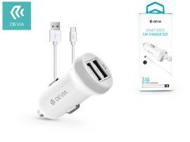 Devia Dual USB szivargyújtó töltő adapter + Type-C adatkábel 1 m-es vezetékkel - 5V/3,1A - Devia Smart Series Car Charger Suit - white