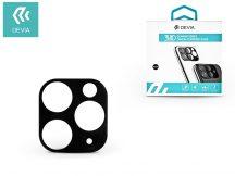 Hátsó kameravédő borító + lencsevédő edzett üveg - Apple iPhone 11 Pro - Devia Glimmer Series 3D Camera Tempered Glass - black
