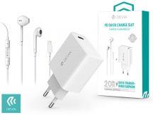 Devia hálózati töltő adapter Type-C bemenettel + Lightning/Bluetooth headset - 20W - Devia Smart Series PD3.0 Quick Charger Suit + Earphone - white