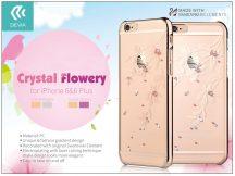 Apple iPhone 6/6S hátlap Swarovski kristály díszitéssel - Devia Crystal Flowery - champagne gold