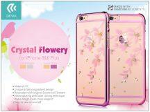 Apple iPhone 6/6S hátlap Swarovski kristály díszitéssel - Devia Crystal Flowery - rose pink