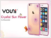 Apple iPhone 6/6S hátlap kristály díszitéssel - Vouni Crystal Sun Flower - rose pink