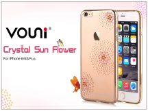 Apple iPhone 6 Plus/6S Plus hátlap kristály díszitéssel - Vouni Crystal Sun Flower - champagne gold