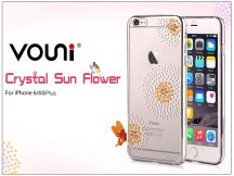 Apple iPhone 6 Plus/6S Plus hátlap kristály díszitéssel - Vouni Crystal Sun Flower - silver