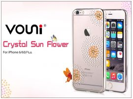 Apple iPhone 6 Plus/6S Plus hátlap kristály díszitéssel - Vouni Crystal Sun Flower - silver