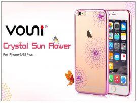 Apple iPhone 6 Plus/6S Plus hátlap kristály díszitéssel - Vouni Crystal Sun Flower - rose pink