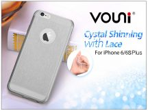 Apple iPhone 6 Plus/6S Plus szilikon hátlap - Vouni Crystal Shinning with lace - smoky black