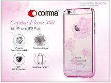 Apple iPhone 6/6S hátlap Swarovski kristály díszitéssel - Comma Crystal Flora 360 - rose pink