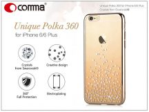 Apple iPhone 6/6S hátlap Swarovski kristály díszitéssel - Comma Unique Polka 360 - champagne gold