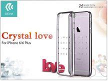 Apple iPhone 6/6S hátlap Swarovski kristály díszitéssel - Devia Crystal Love - gun black