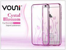 Apple iPhone 6/6S hátlap kristály díszitéssel - Vouni Crystal Blossom - rose pink