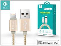 Apple iPhone 5/5S/5C/SE/iPad 4/iPad Mini USB töltő- és adatkábel - 2 m-es vezetékkel (Apple MFI engedélyes) - Devia Fashion Cable Lightning - gold