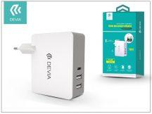 Univerzális USB hálózati töltő adapter 2 x USB + Type-C - 5V/5,4A - Devia Valet Duo Power Adapter - white/grey