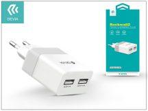Univerzális USB hálózati töltő adapter 2 x USB - 5V/2,4A - Devia Rockwall 2 - white/silver