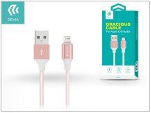 Apple iPhone 5/5S/5C/SE/iPad 4/iPad Mini USB töltő- és adatkábel - 1,5 m-es vezetékkel - Devia Gracious Lightning USB 2.4 - rose gold